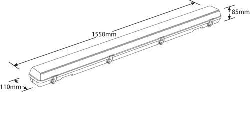 enlite en 60em linearpac white 3 hour emergency polycarbonate industrial led