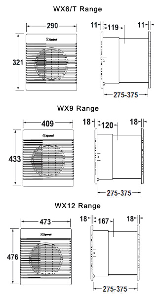 xpelair wx9 wx series white flush wall mounting commercial