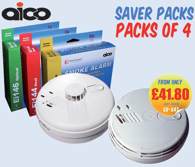 Aico EI140RC Mains Voltage Smoke & Heat Alarm PACKS