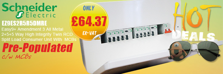 Schneider Electric EZ9ES2R5R5DMRE Easy9+ Amendment 3 All Metal 2+5+5 Way Pre-Populated High Integrity Twin RCD Split Load Consumer Unit