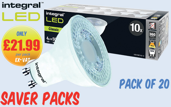 Integral LED GU10 Non-Dimmable LED Lamps - PACKS