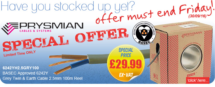 Prysmian 6242YH2.5GRY100 BASEC Approved 6242Y Grey Twin & Earth Cable 2.5mm 100m Reel - SPECIAL OFFER