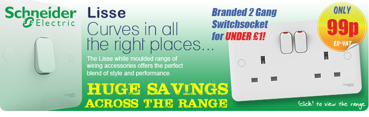 Schneider Lisse - Branded 2 Gang Switchsocketr for UNDER £1!