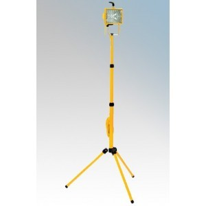 Briticent SEMP110 Yellow 2m Tripod Mounted Single Head Square Halogen Floodlight With 3m Arctic Cable & 16A Plug IP54 500W 110V