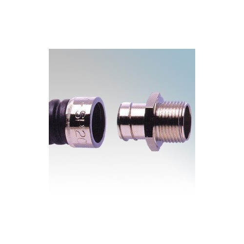 Adaptaflex SP32/M32/A Nickel Plated Brass Type A Straight Fitting Fixed External Thread For Type SP Flexible Conduit IP54 M32 32mm