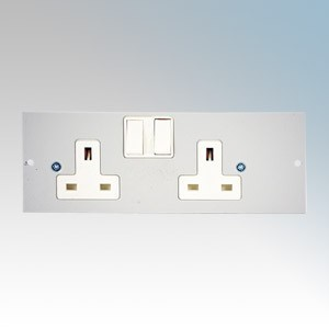 TASS STO290/LH 2 Gang Switchsocket on Left Hand Side Of Plate For TFB4/76 Galvanised Floor Box L:185mm x W:68mm