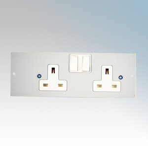 TASS STO290/RH 2 Gang Switchsocket on Right Hand Side Of Plate For TFB4/76 Galvanised Floor Box L:185mm x W:68mm