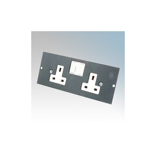 Tass STO291 2 Gang Switchsocket For TFB3/76 Galvanised Floor Box L:185mm x W:89mm