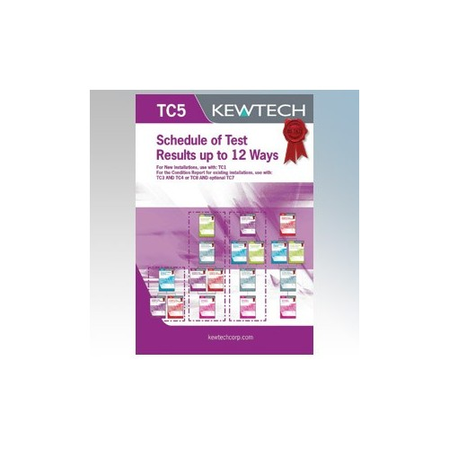 Kewtech TC5 Inspection & Test Schedule (Domestic) Pad For Distribution Boards Up To 12 Ways ( Must Include TC1 or TC3 )