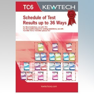 Kewtech TC6 Inspection & Test Schedule Pad For Distribution Boards Up To 3 x 12 Ways ( Must Include TC1 or TC3 )