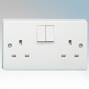 Crabtree 4306 Capital White Moulded 2 Gang Single Pole Switchsocket 13A