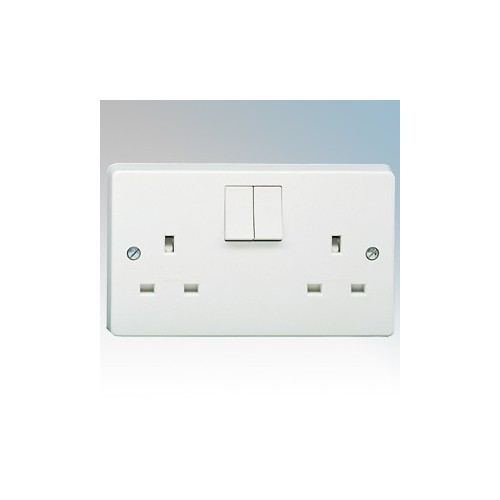 Crabtree 4306/D Capital White Moulded 2 Gang Double Pole Switchsocket 13A