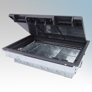 Tass TFB3/76 Galvanised 3 Compartment Floor Box With Polycarbonate Frame & Lid L: 303mm x W:212mm x D:76mm