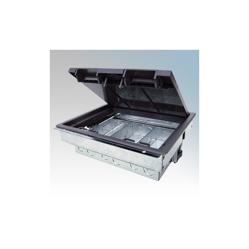 Tass TFB3S Galvanised 3 Compartment Compact Floor Box With Polycarbonate Frame & Lid L: 266mm x W:212mm x D:88mm