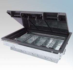TASS TFB4/76 Galvanised 4 Compartment Floor Box With Polycarbonate Frame & Lid L: 303mm x W:212mm x D:76mm