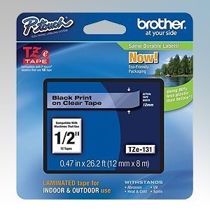 Brother TZE131 P-Touch Black on Clear Labelling Tape For PT-E300VP Label Printer 12mm x 8m