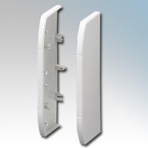 MK Electric VP193WHI Prestige 3D White Skirting Trunking End Caps (Left/Right Hand Pair) 170mm x 57mm