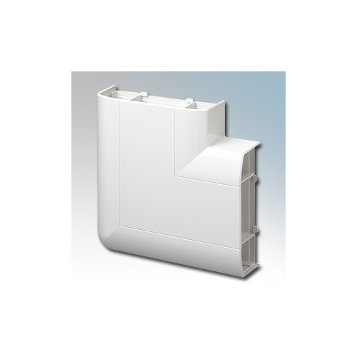 MK Electric VP195WHI Prestige 3D White 3 Compartment Skirting Trunking 90° Flat Angle Up With Cover & Carrier 170mm x 57mm