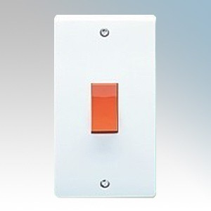 Crabtree 4500 Capital White Moulded Double Pole Switch On Large Vertical Plate 50A