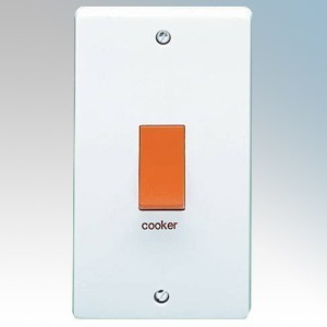 Crabtree 4500/1 Capital White Moulded Double Pole Switch Marked 'Cooker' On Large Vertical Plate 50A