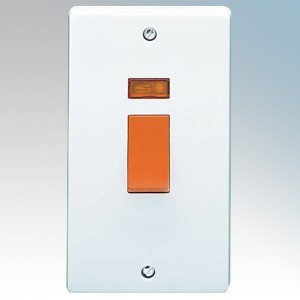 Crabtree 4500/3 Capital White Moulded Double Pole Switch With Neon On Large Vertical Plate 50A