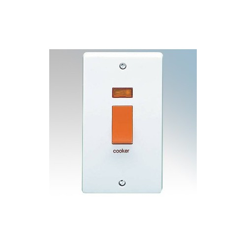 Crabtree 4500/31 Capital White Moulded Double Pole Switch With Neon Marked ' Cooker' On Large Vertical Plate 50A