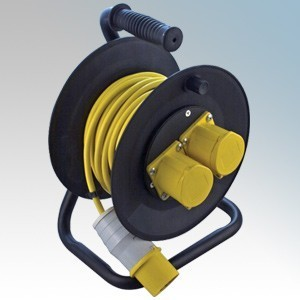 CED WCR251 Black 2 Gang Open Cable Reel With 25m Yellow Arctic Cable 16A 110V