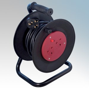CED WCR252 Black 2 Gang Open Cable Reel With 25m Cable 13A 240V