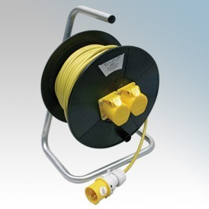 CED WCR501 Black 2 Gang Open Cable Reel With 50m Yellow Arctic Cable 16A 110V