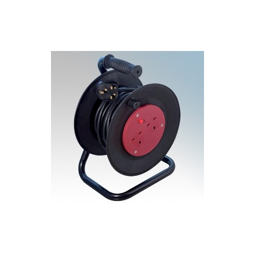 CED WCR502 Black 2 Gang Open Cable Reel With 50m Cable 13A 240V