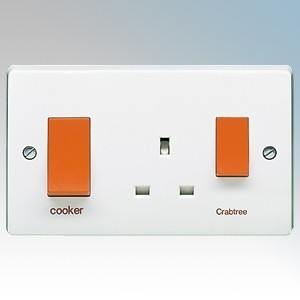 Crabtree 4521/1 Capital White Moulded Slimline Double Pole Cooker Control Unit With 13A Switchsocket & Red Rockers Marked 'Cooker' 45A
