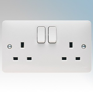 Hager WMSS82 (Pack of 5) Sollysta White Moulded 2 Gang DP Switchsocket 13A