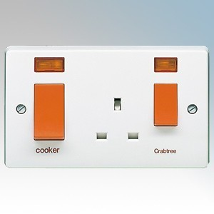 Crabtree 4521/31 Capital White Moulded Slimline Double Pole Cooker Control Unit With 13A Switchsocket, Neons & Red Rockers Marked 'Cooker' 45A