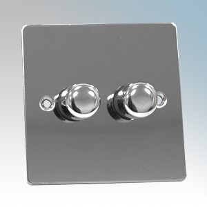 Zano ZSP252PC Polished Chrome 2 Gang Slimline LED Dimmer Switch 250W 240V