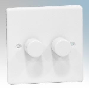 Zano ZSP252 White Moulded 2 Gang Slimline LED Dimmer Switch 250W 240V