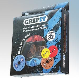Gripit GASSORTKIT Mixed Plasterboard Fixings Kit With 8 x 15mm fixings, 8 x 4.0 x 25mm wood screws, 8 x 18mm fixings, 8 x 5.0 x 30mm wood screws, 8 x 20mm fixings, 8 x M6 x 20mm bolts, 8 x 25mm fixings, 8 x M8 x 20mm bolts