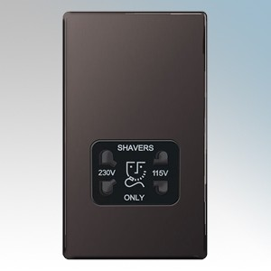 BG Electrical Nexus Black Nickel Screwless Flat Plate Dual Voltage Socket Shaver 115V / 230V