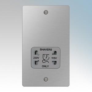 BG Electrical SBS20G Nexus Brushed Steel Screwed Flat Plate Dual Voltage Socket Shaver 115V / 230V