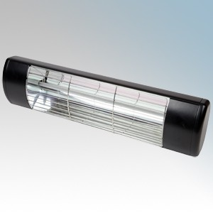 BN Thermic HWP2-B Black Instant Outdoor Radiant Patio Heater for Outside Spaces With 1.5Kw Gold Glow Lamp IP55