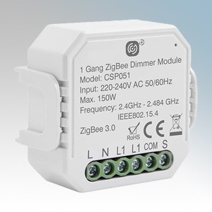 Scolmore Click CSP051 Smart + White Wireless Zigbee Smart One Gang Dimming Receiver 150W 240V Height: 46mm - Width: 46mm - Depth: 18mm