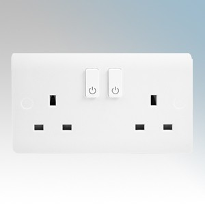Scolmore Click CMA30036 Smart + White Wireless Zigbee Smart Two Gang Switched Socket Outlet 13A 240V Height: 86mm - Width: 146mm - Depth: 9.5mm