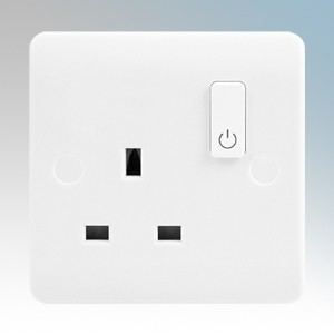 Scolmore Click CMA30035 Smart + White Wireless Zigbee Smart One Gang Switched Socket Outlet 13A 240V Height: 86mm - Width: 86mm - Depth: 9.5mm