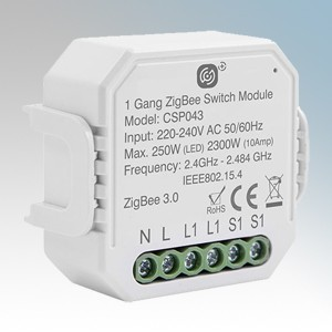 Scolmore Click CSP043 Smart + White Wireless Zigbee Smart 10A One Gang Switching Receiver 250W (LED) 2300W (Resistive) Height: 46mm - Width: 46mm - Depth: 18mm