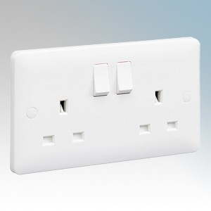 MK Electric MB2747WHI Base White Moulded 2 Gang Single Pole Switched Socket 13A