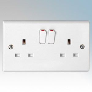 Deta S1209SDP (pack of 5) Slimline White Moulded 2 Gang Double Pole Switchsocket 13A