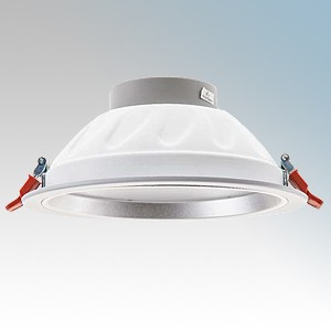 Channel Safety E/PINTO20W Pinto White Aluminium Commercial LED Downlight With Cool White LEDs IP20 20W 1600 Lumens 240V Dia Ø: 196.2mm - Recess Depth: 97.5mm - Cut Out: 210mm