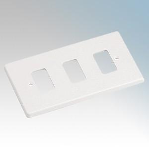 Crabtree 5573 Rockergrid White 3 Module Frontplate 86mm x 146mm