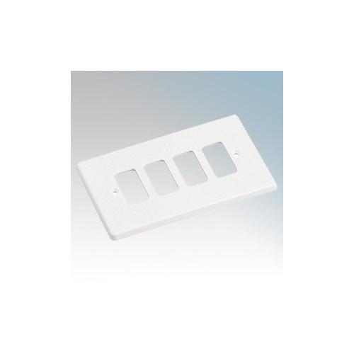 Crabtree 5574 Rockergrid White 4 Module Frontplate 86mm x 146mm