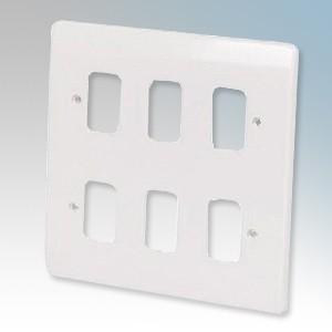 Crabtree 5576 Rockergrid White 6 Module Frontplate 146mm x 146mm