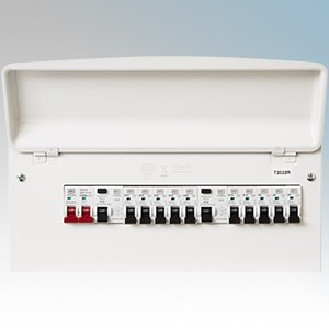 Circpro Y7666SMET-OFFER MK Sentry Amendment 3 All Metal 16 Way (10 Useable Ways ) Pre-Populated Twin RCD Flexible Consumer Unit With 3x6A, 2x16A, 4x32A & 1X40A MCBs